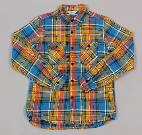 Heavy Flannel Workshirt Blue Yellow Hickoree 39 S