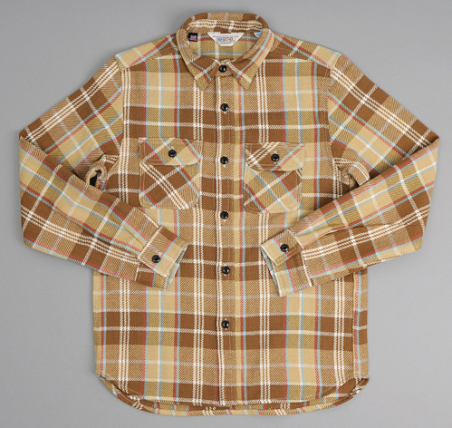 Heavy flannel shirt beige plaid hickoree 39 s for Heavy plaid flannel shirt