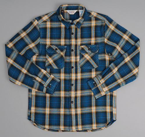 Heavy flannel shirt blue ombre plaid hickoree 39 s for Heavy plaid flannel shirt
