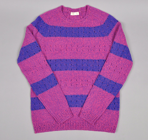 CREW NECK SWEATER, POINTELLE STRIPES, PURPLE HAZE :: HICKOREE'S
