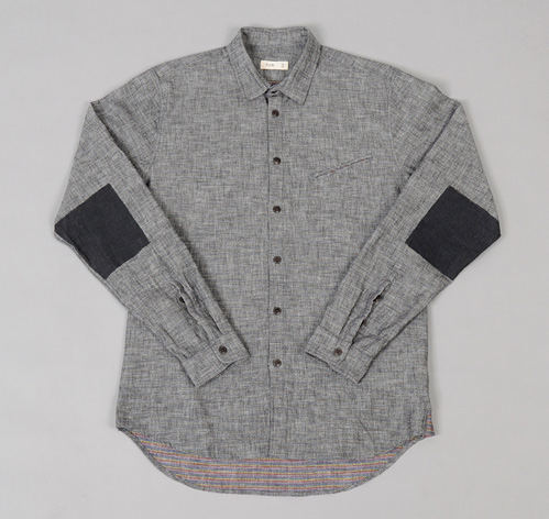 Printed Elbow Patch Shirt Charcoal Grey Multicolor