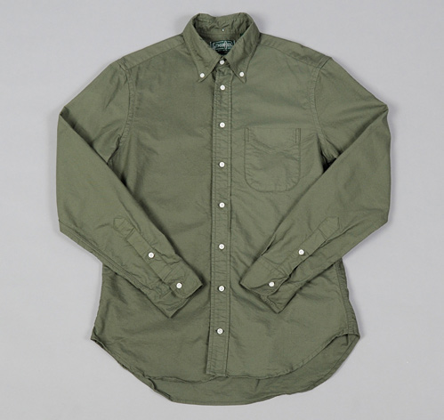 Button Down Collar Shirt Olive Green Overdyed Oxford Hickorees