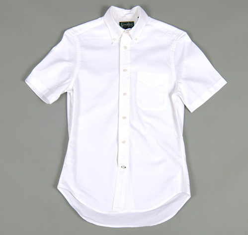 Short Sleeve Button Down Collar Shirt White Oxford