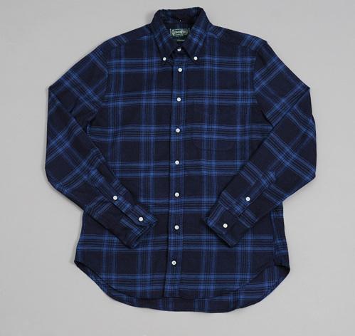 blue plaid button down shirt is shirt