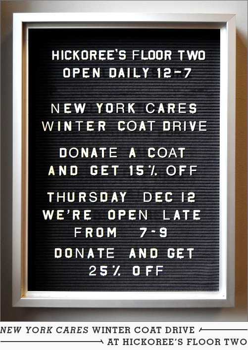 New York Cares Winter Coat Drive at Hickoree's Floor Two