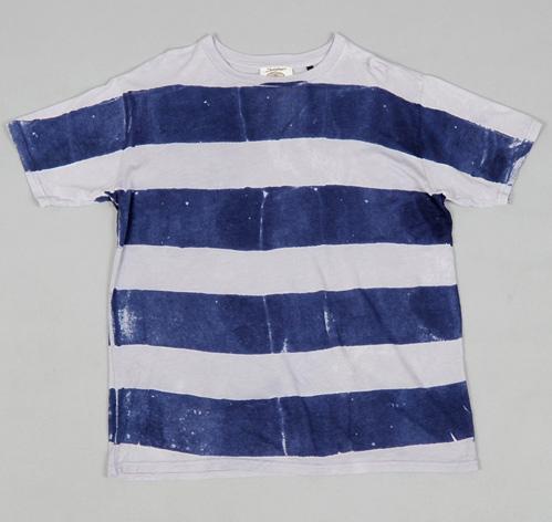 Batik dyed stripes hemp cotton blend t shirt navy for Men s batik bay silk blend button down shirt
