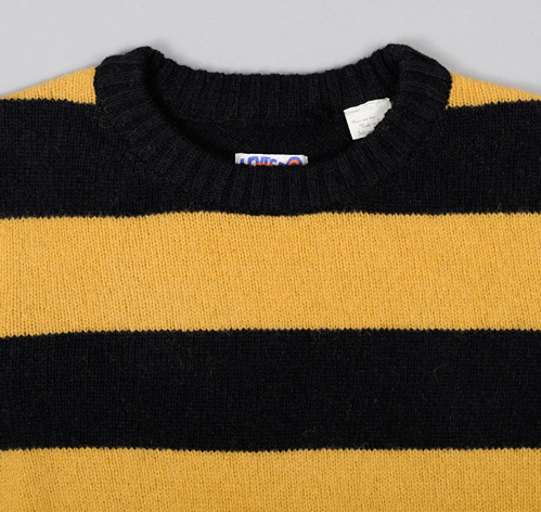 STRIPED CREWNECK SWEATER, BLACK / YELLOW :: HICKOREE'S