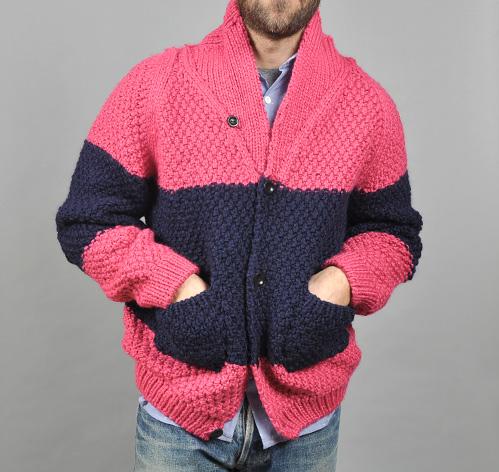 Knitting Pattern Moss Stitch Cardigan : HAND KNIT MOSS STITCH CARDIGAN, PINK :: HICKOREES