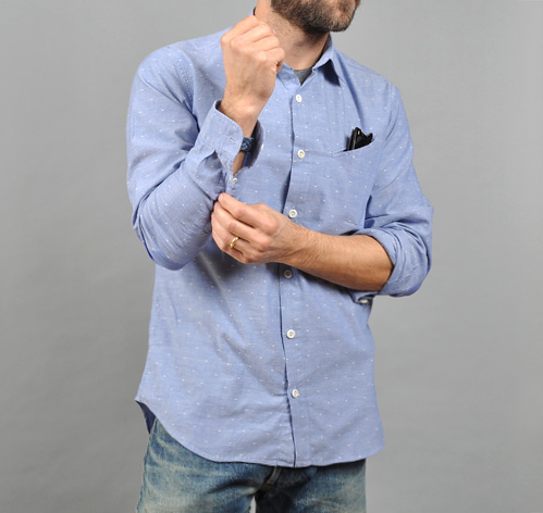 Printed Elbow Patch Shirt Spotted Chambray Hickoree 39 S