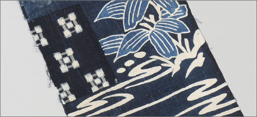 Boro Fabric Panel With Tsutsugaki Resist Dyed Image