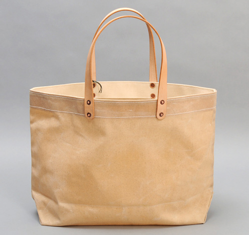 WAXED CANVAS TOTE BAG W/ LEATHER HANDLES, NATURAL :: HICKOREE'S