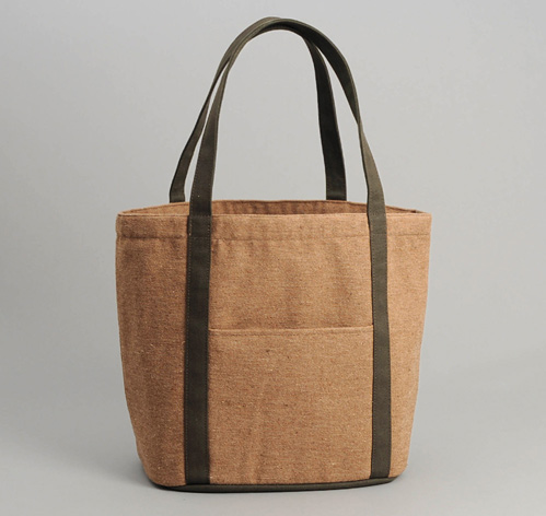 COTTON / WOOL JEAN CLOTH HEAVY DUTY TOTE BAG, LIGHT BROWN ...