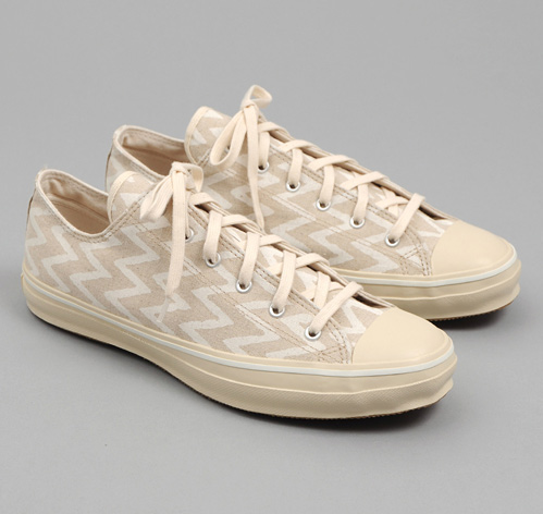 the hill side - sn1 169 cotton linen zig zag print low top sneakers natural